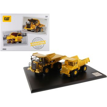 CAT Caterpillar 769 Off-Highway Truck (1963-2006) and CAT Caterpillar 770 Off-Highway Truck (2007-Present) with Operators Evolution Series Set of 2 pieces 1/50 Diecast Models by Diecast M 85562