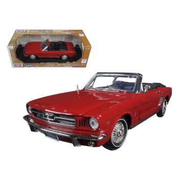 1964 1/2 Ford Mustang Convertible Red Timeless Classics 1/18 Diecast Model Car by Motormax 73145r
