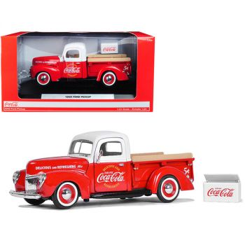 1940 Ford Pickup Truck Coca-Cola Red and White with Coca-Cola Cooler Accessory 1/24 Diecast Model Car by Motorcity Classics 424040