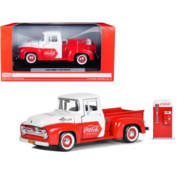 1955 Ford F-100 Pickup Truck Red and White with Vending Machine Accessory Coca-Cola 1/24 Diecast Model Car by Motorcity Classics 424055