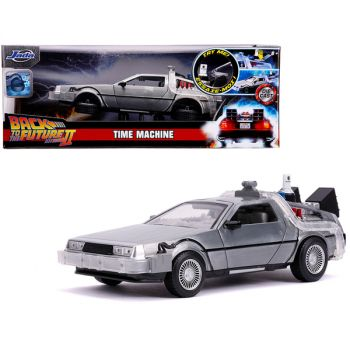 DeLorean Brushed Metal Time Machine with Lights (Flying Version) Back to the Future Part II (1989) Movie Hollywood Rides Series 1/24 Diecast Model Car by Jada 31468