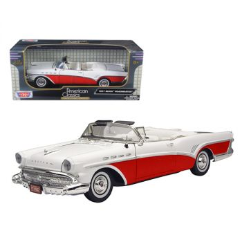 1957 Buick Roadmaster Convertible Red 1/18 Diecast Model Car by Motormax 73152r