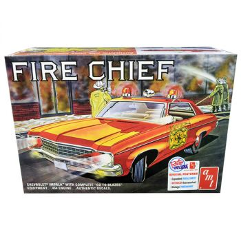 Skill 2 Model Kit 1970 Chevrolet Impala Fire Chief 2 in 1 Kit 1/25 Scale Model by AMT AMT1162