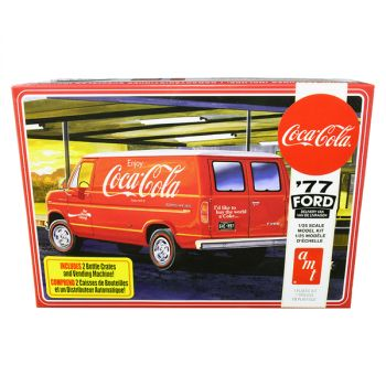 Skill 3 Model Kit 1977 Ford Delivery Van with 2 Bottles Crates and Vending Machine Coca-Cola 1/25 Scale Model by AMT AMT1173M