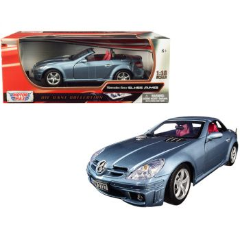 Mercedes Benz SLK 55 AMG with Retractable Roof Silver Blue 1/18 Diecast Model Car by Motormax 73162s