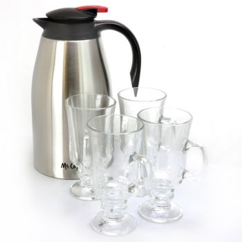 Mr. Coffee Galion 2 Quart Stainless Steel Insulated Coffee Pot and 4 Piece Glass Pedestal Cup Set