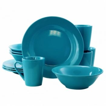 Gibson Home Carlton 12 Piece Dinnerware Set in Blue
