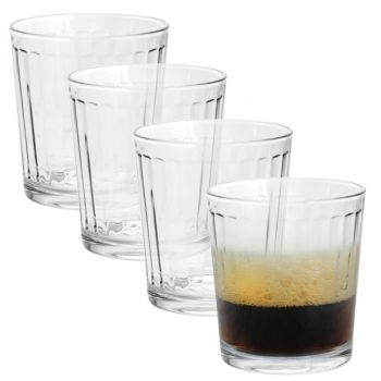 Pasabahce Optica 4 Piece 13 Ounce Double Old Fashioned Set in Clear Glass