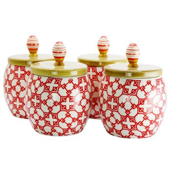 Urban Market Life on the Farm 4 Piece 1.7 Quart Durastone Canister Set in Red
