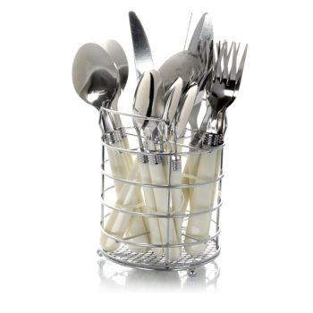 Gibson Sensations II 16 Piece Stainless Steel Flatware Set with White Handles and Chrome Caddy