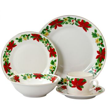 Gibson Home Poinsettia Holiday 20 Piece Ceramic Dinnerware Set