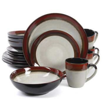 Gibson Couture Bands 16 Piece Stoneware Dinnerware Set in Cream and Red Band