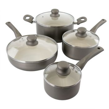 Oster Newcrest 8 Piece Ceramic Nonstick Aluminum Cookware Set with Soft Grip Handles