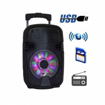 beFree Sound 8 Inch 400 Watts Bluetooth Portable Party Speaker with USB, SD Input and Reactive Lights