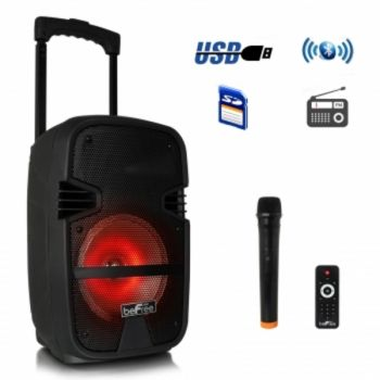 beFree Sound 8 Inch 400 Watt Bluetooth Portable Party PA Speaker System with Illuminating Lights
