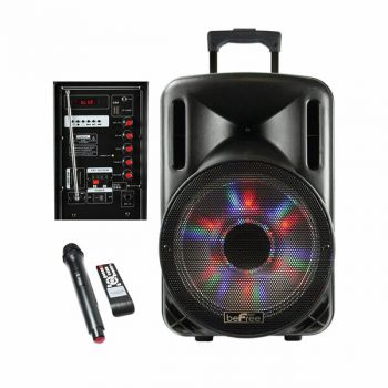 beFree Sound 12 Inch 2500 Watt Bluetooth Portable Party PA Speaker With Illuminating Lights and USB/MicroSD/AUX-in/FM Radio/DV12V Inputs