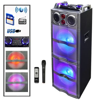 beFree Sound Double 10 Inch Subwoofer Portable Bluetooth Party Speaker with Reactive Lights