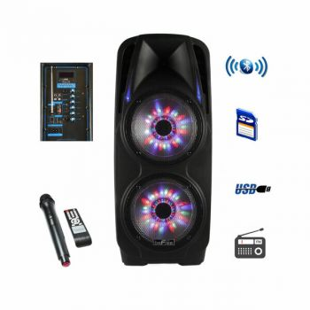 beFree Sound Double 10 Inch Subwoofer Portable Bluetooth Party PA Speaker
