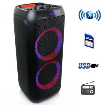 beFree Sound Dual 8 Inch Bluetooth Wireless Portable Party Speaker with Reactive Lights