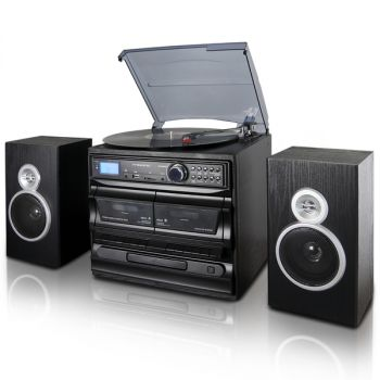 Trexonic 3-Speed Vinyl Turntable Home Stereo System with CD Player, Dual Cassette Player, Bluetooth, FM Radio & USB/SD Recording and Wired Shelf Speakers