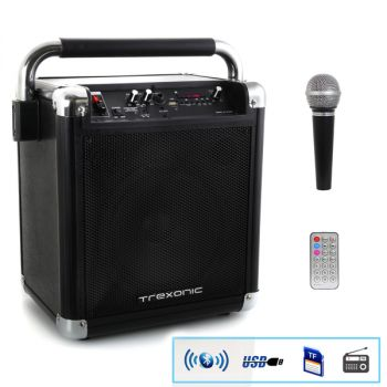 Trexonic Wireless Portable Party Speaker with USB Recording, FM Radio & Microphone, Black