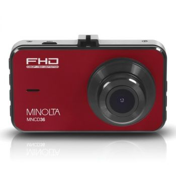 MINOLTA(R) MNCD36-R MNCD36 1080p Full HD Dash Camera with 3-Inch LCD Screen (Red)