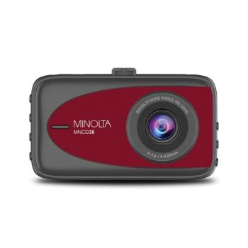 MINOLTA(R) MNCD38-R MNCD38 1080p Full HD Dash Camera with 3.2-Inch LCD Screen (Red)