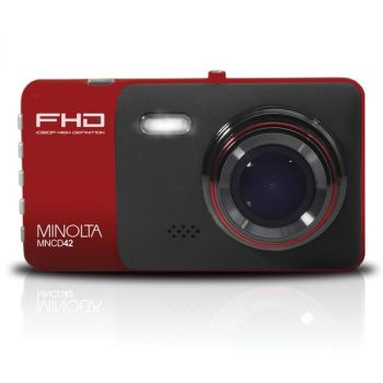 MINOLTA(R) MNCD42-R MNCD42 1080p Full HD Dash Camera with 4-Inch LCD Screen (Red)