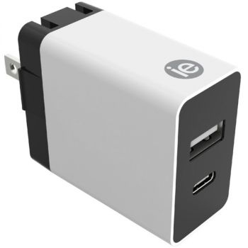 iEssentials IEN-AC31A1C-WT 3.4-Amp Dual Port Wall Charger with USB and USB-C