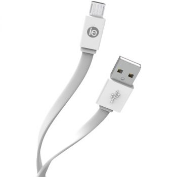 iEssentials IEN-FC4M-WT Charge and Sync Flat Micro USB to USB-A Cable, 4 Feet (White)