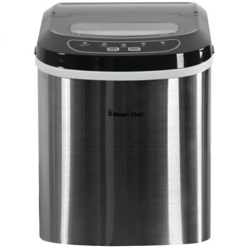 MAGIC CHEF(R) MCIM22ST 27-Pound-Capacity Portable Ice Maker (Stainless with Black Top)