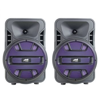 NAXA(R) NDS-8006D Dual 8-Inch Bluetooth True Wireless Sync Party Speakers with Disco Light