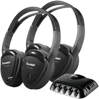 Power Acoustik HP-22IRT 2 Sets of Single-Channel IR Wireless Headphones with Transmitter for use with Power Acoustik Mobile A/V systems