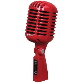 PYLE PRO(R) PDMICR42R Classic Retro Vintage-Style Dynamic Vocal Microphone (Red)