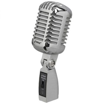 Pyle Pro PDMICR42SL Classic Retro Vintage-Style Dynamic Vocal Microphone (Silver)