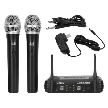 Pyle PDWM3375 Premier Series Professional 2-Channel UHF Wireless Handheld Microphone System with Selectable Frequency