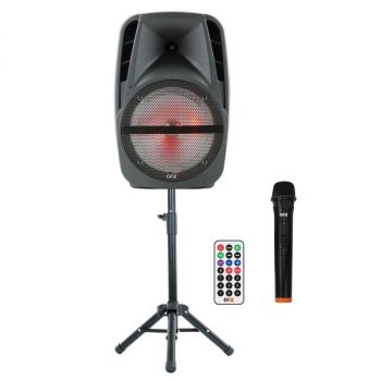 QFX PBX-61161 15-Inch Portable Party Speaker with Wireless Microphone and Stand