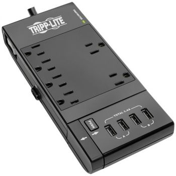 Tripp Lite TLP66USBR Protect It! 6-Outlet Surge Protector with 4 USB Ports, 6ft Cord