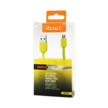 REIKO TANGLE FREE MICRO USB DATA CABLE 3.3FT IN YELLOW DC01-V9YL