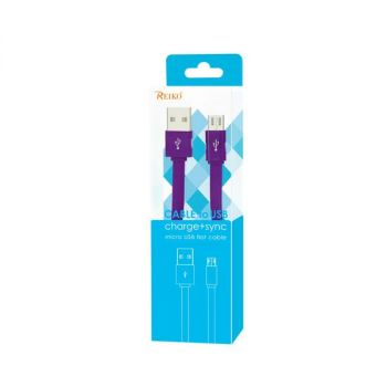 REIKO FLAT MICRO USB DATA CABLE 3.2FT IN PURPLE DC08-V9PP