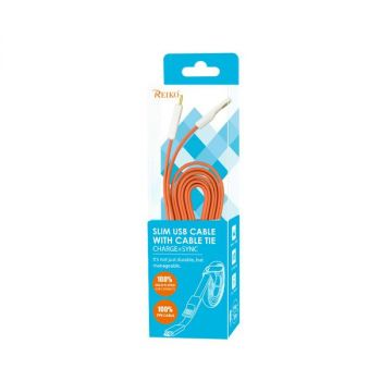 REIKO FLAT MICRO USB GOLD PLATED DATA CABLE 3.9FT WITH CABLE TIE IN ORANGE DC19-MICROORG