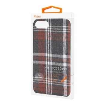 Reiko iPhone 7/8/SE2 Checked Fabric Case In Brown DF02-IPHONE8BR