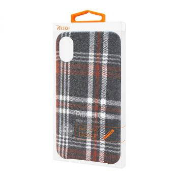 Reiko iPhone X/iPhone XS Checked Fabric Case In Brown DF02-IPHONEXBR