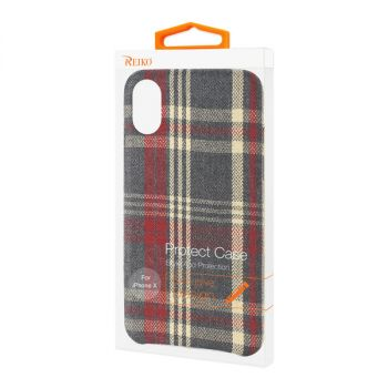 Reiko iPhone X/iPhone XS Checked Fabric Case In Red DF02-IPHONEXRD