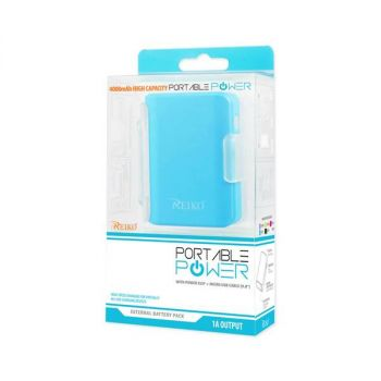 REIKO 4000MAH UNIVERSAL POWER BANK WITH CABLE IN BLUE PB4000-BL