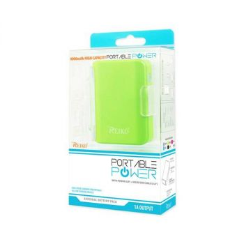REIKO 4000MAH UNIVERSAL POWER BANK WITH CABLE IN GREEN PB4000-GR