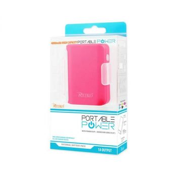 REIKO 4000MAH UNIVERSAL POWER BANK WITH CABLE IN HOT PINK PB4000-HPK