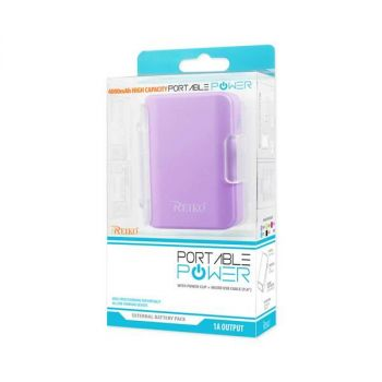 REIKO 4000MAH UNIVERSAL POWER BANK WITH CABLE IN PURPLE PB4000-PP