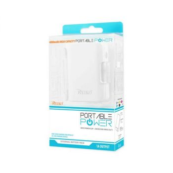 REIKO 4000MAH UNIVERSAL POWER BANK WITH CABLE IN WHITE PB4000-WH