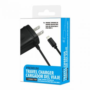 REIKO PORTABLE 8PIN USB TRAVEL ADAPTER CHARGER WITH BUILT IN CABLE IN BLACK FOR IPHONE 6/ 6S/ 6 PLUS/ 6S PLUS/ IPHONE 7/ IPHONE 7 PLUS TC-8PBK